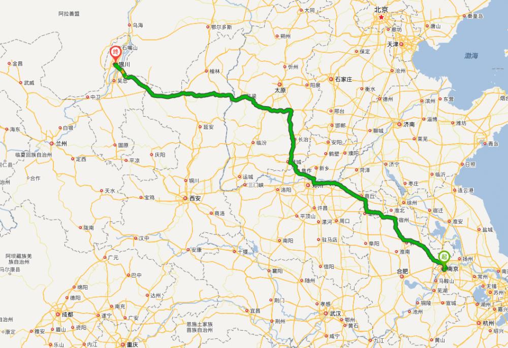 青岛到南京火车地图