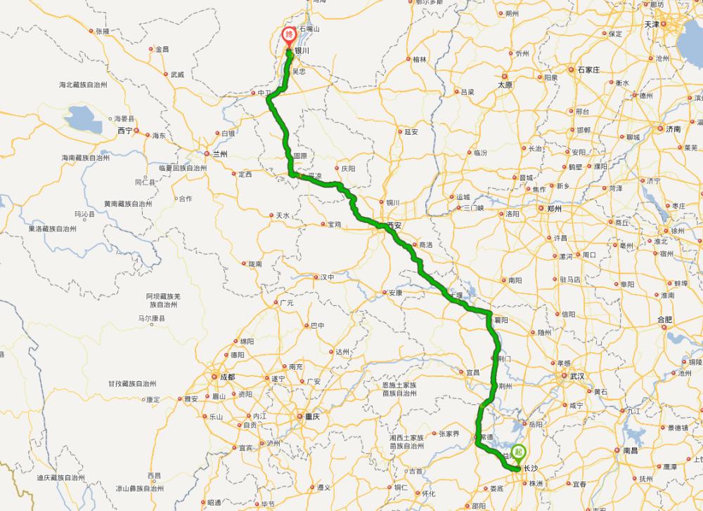 银川至青岛地图