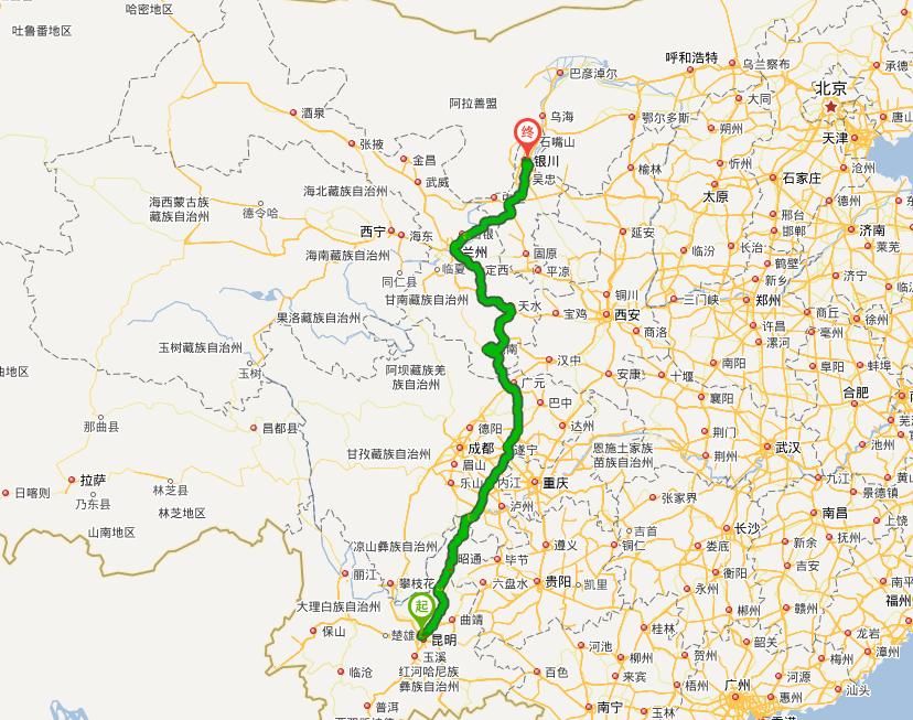 青岛至银川地图