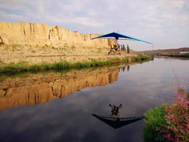 银川旅游景点水洞沟动力三角翼