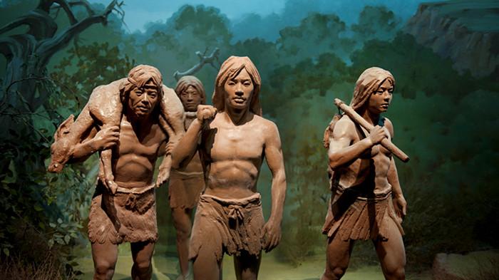 水洞沟旧石器时代原始人生活场景图片!_宁夏水洞沟