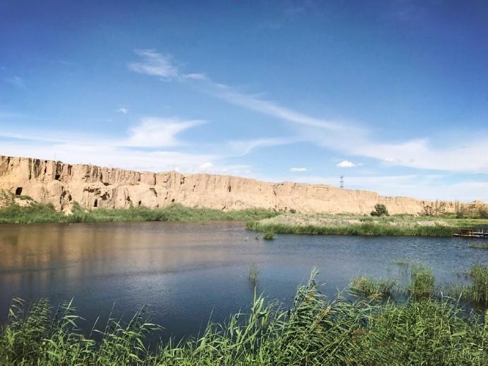 宁夏银川旅游景点水洞沟湖光山色